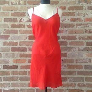 Ralph Lauren Orange Sheer Slip Dress 10 Petite